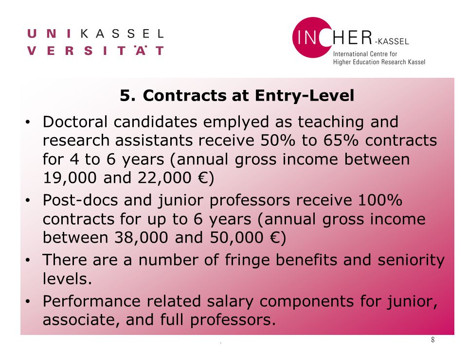 . 8 5.Contracts at Entry-Level Doctoral candidates emplyed as teaching and research assistants receive 50% to 65% contracts for 4 to 6 years (annual g