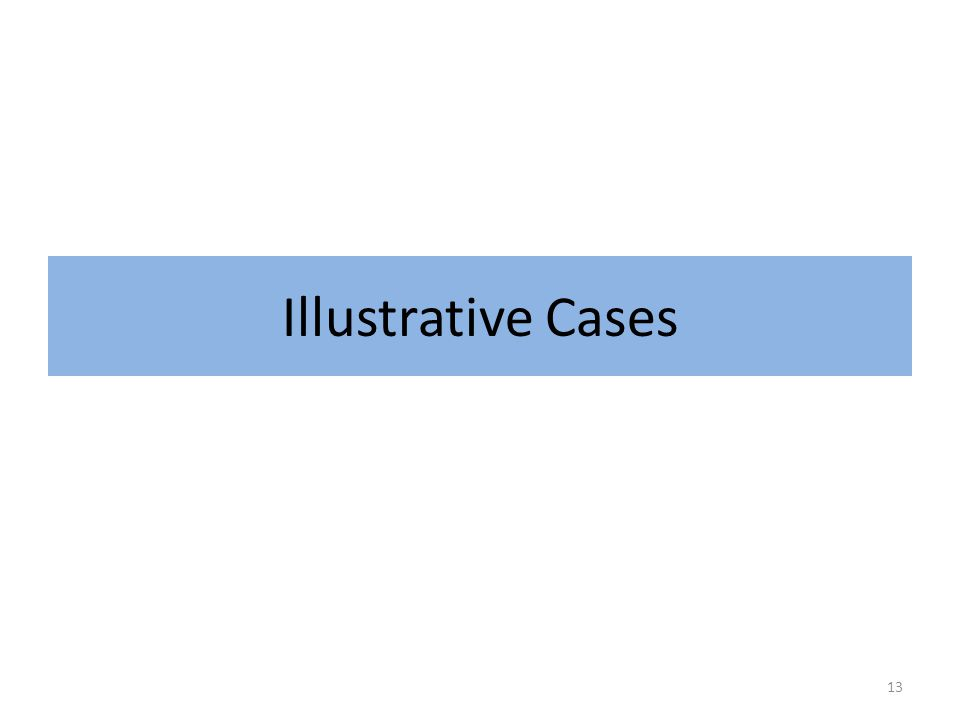 Illustrative Cases 13