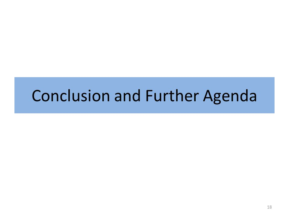 Conclusion and Further Agenda 18