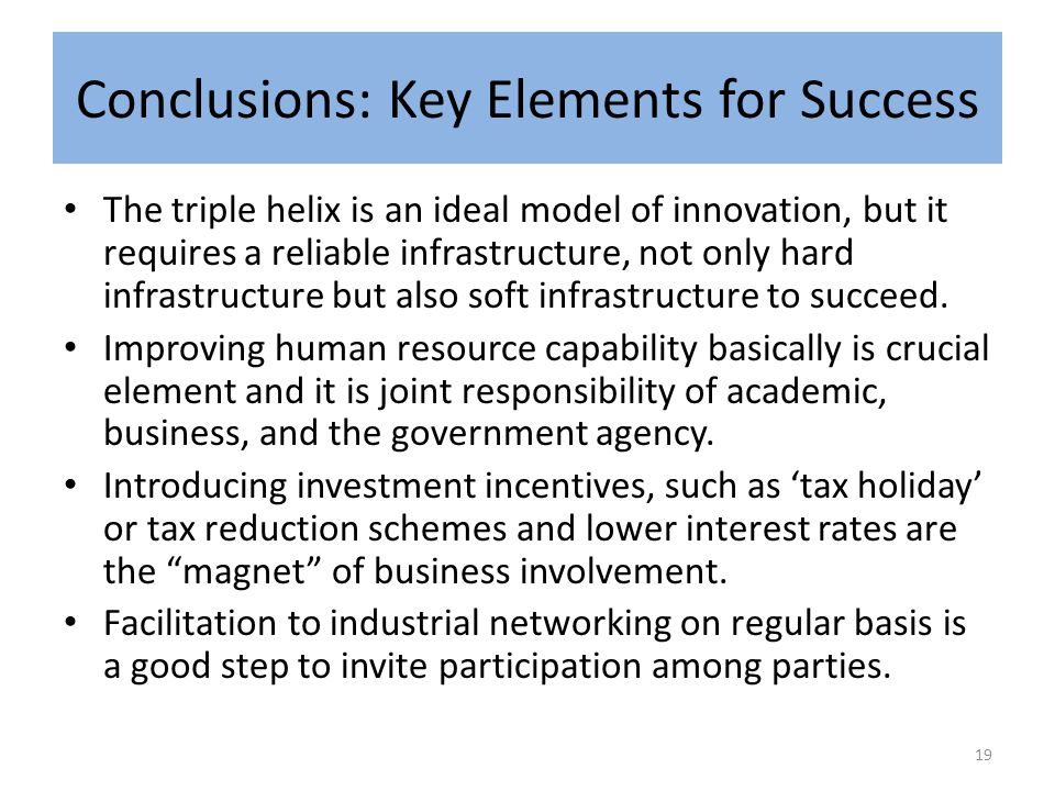 Conclusions: Key Elements for Success The triple helix is an ideal model of innovation, but it requires a reliable infrastructure, not only hard infrastructure but also soft infrastructure to succeed.