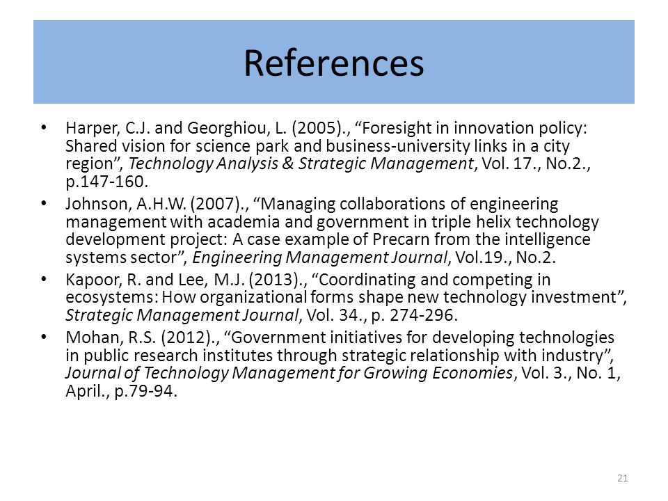 References Harper, C.J. and Georghiou, L.
