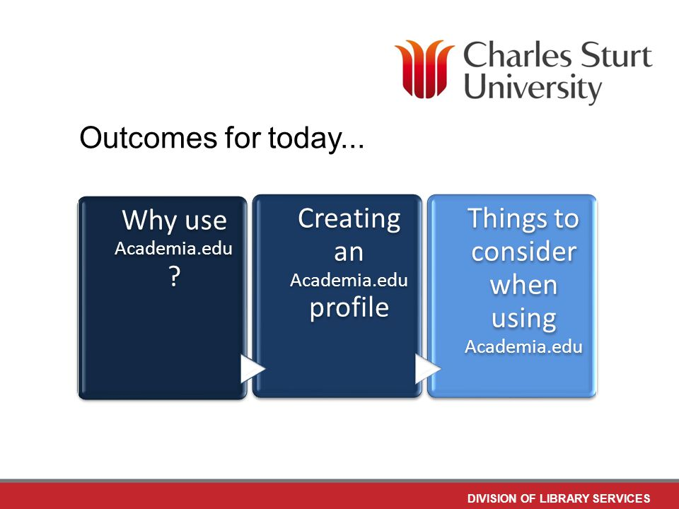DIVISION OF LIBRARY SERVICES Why use Academia.edu .