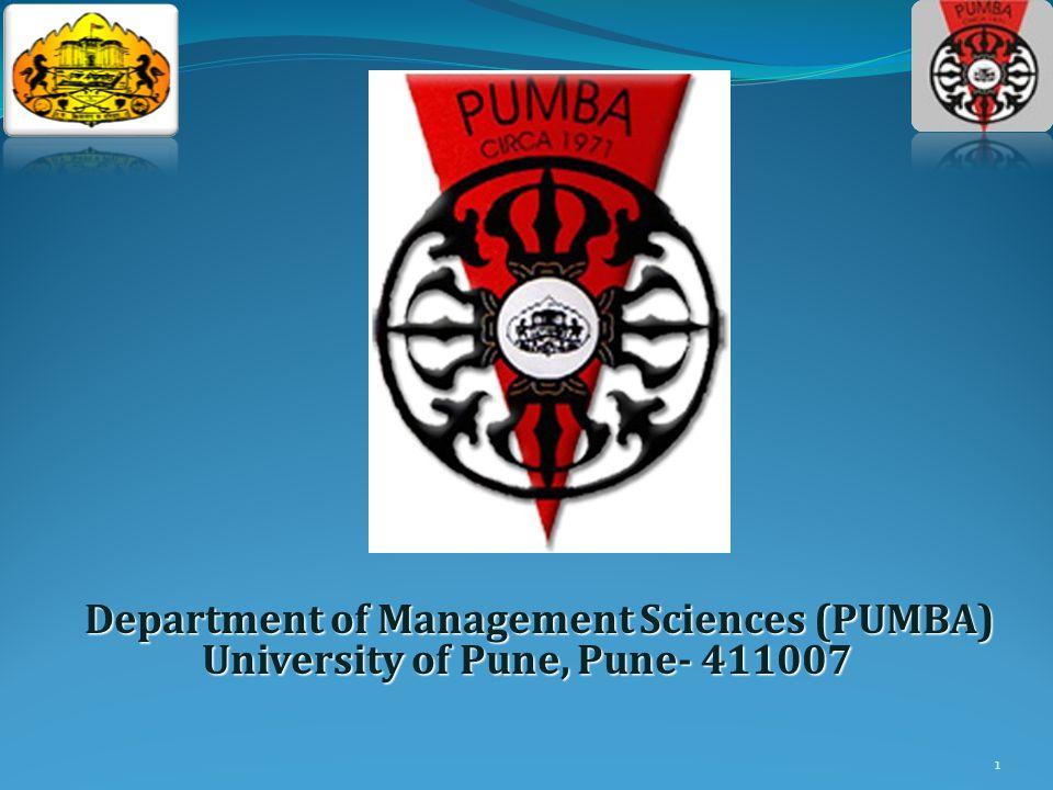 1 Department of Management Sciences (PUMBA) University of Pune, Pune- 411007