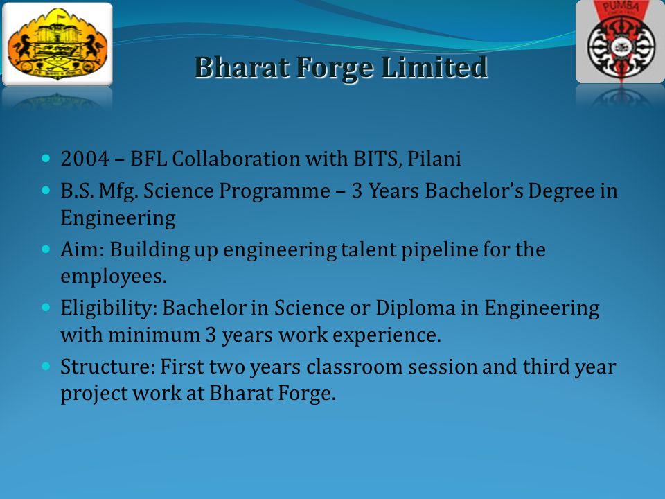 2004 – BFL Collaboration with BITS, Pilani B.S. Mfg.