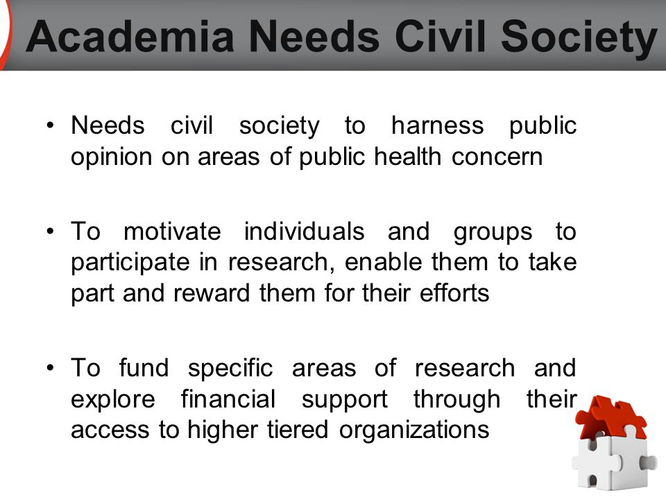 Needs civil society to harness public opinion on areas of public health concern To motivate individuals and groups to participate in research, enable them to take part and reward them for their efforts To fund specific areas of research and explore financial support through their access to higher tiered organizations Academia Needs Civil Society