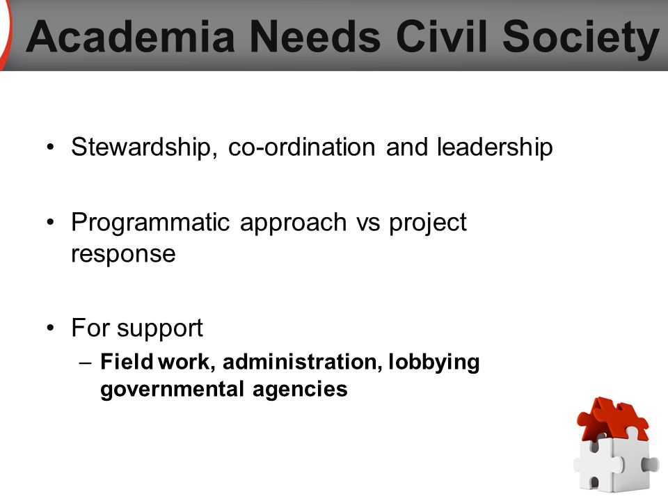 Stewardship, co-ordination and leadership Programmatic approach vs project response For support –Field work, administration, lobbying governmental agencies Academia Needs Civil Society