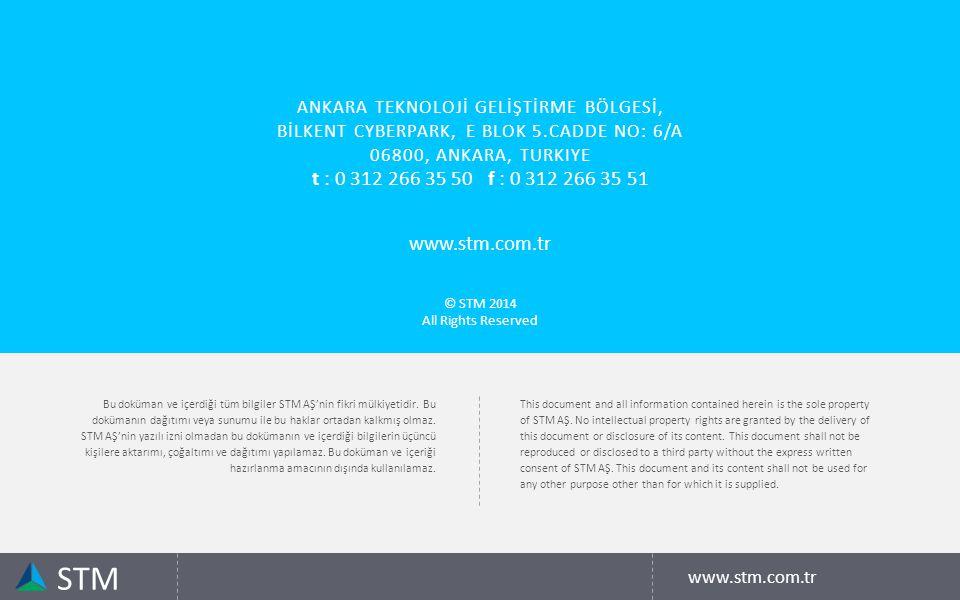 Bu doküman ve içerdiği tüm bilgiler STM AŞ'nin fikri mülkiyetidir.