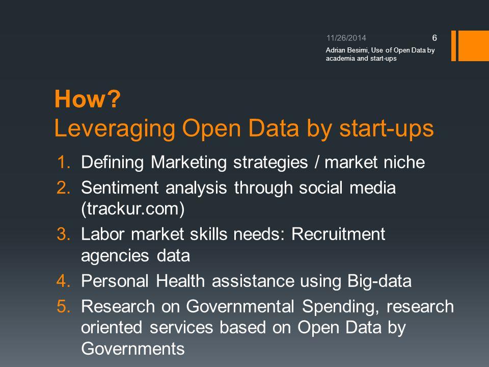 How? Leveraging Open Data by start-ups 1.Defining Marketing strategies / market niche 2.Sentiment analysis through social media (trackur.com) 3.Labor
