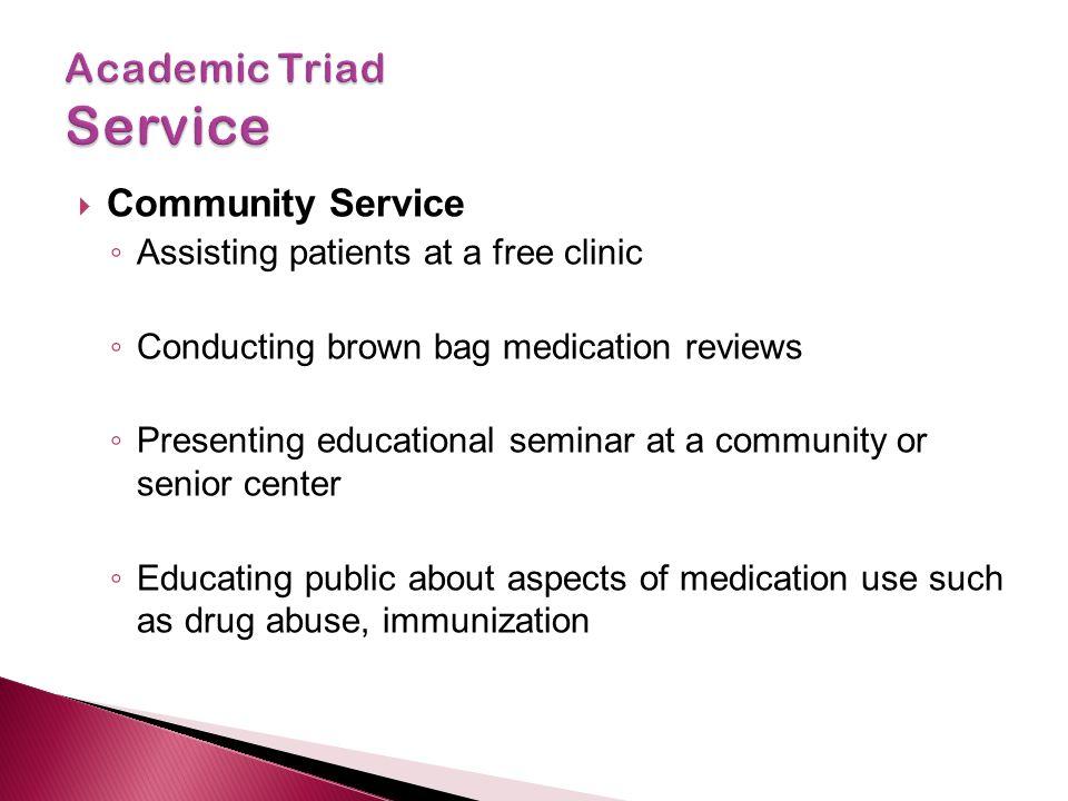  Community Service ◦ Assisting patients at a free clinic ◦ Conducting brown bag medication reviews ◦ Presenting educational seminar at a community or