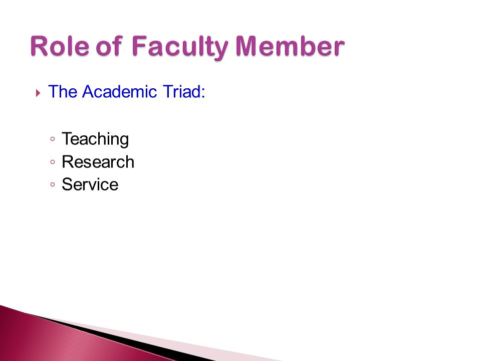  The Academic Triad: ◦ Teaching ◦ Research ◦ Service