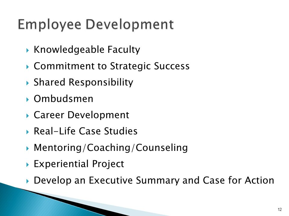  Knowledgeable Faculty  Commitment to Strategic Success  Shared Responsibility  Ombudsmen  Career Development  Real-Life Case Studies  Mentoring/Coaching/Counseling  Experiential Project  Develop an Executive Summary and Case for Action 12