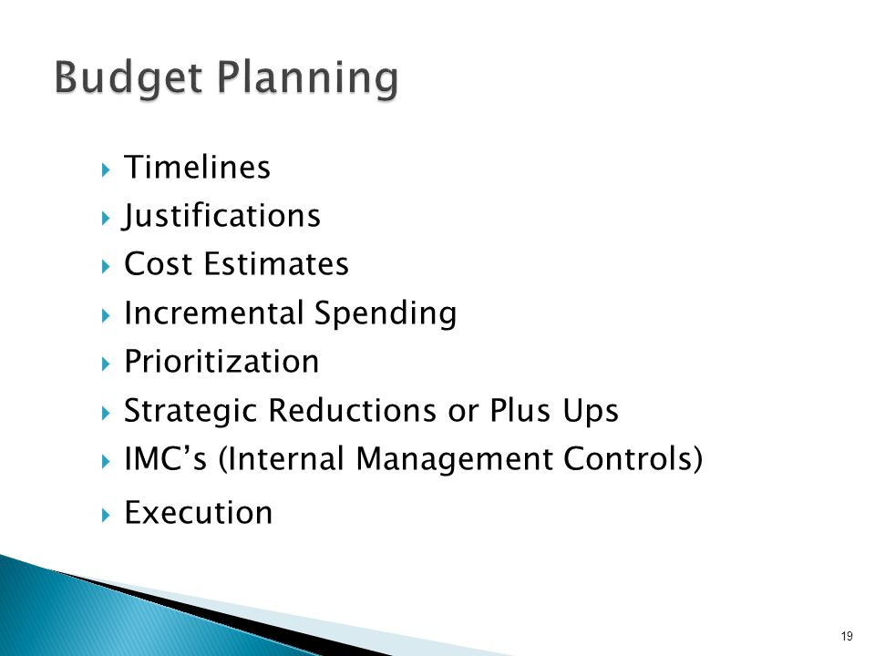  Timelines  Justifications  Cost Estimates  Incremental Spending  Prioritization  Strategic Reductions or Plus Ups  IMC's (Internal Management Controls)  Execution 19