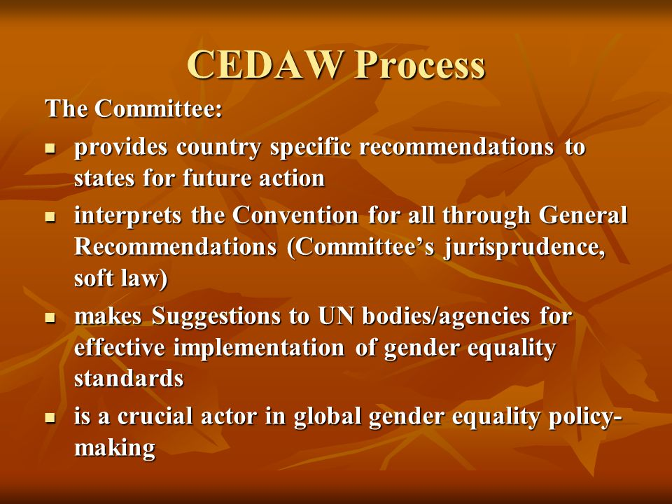 The Committee: provides country specific recommendations to states for future action provides country specific recommendations to states for future action interprets the Convention for all through General Recommendations (Committee's jurisprudence, soft law) interprets the Convention for all through General Recommendations (Committee's jurisprudence, soft law) makes Suggestions to UN bodies/agencies for effective implementation of gender equality standards makes Suggestions to UN bodies/agencies for effective implementation of gender equality standards is a crucial actor in global gender equality policy- making is a crucial actor in global gender equality policy- making CEDAW Process