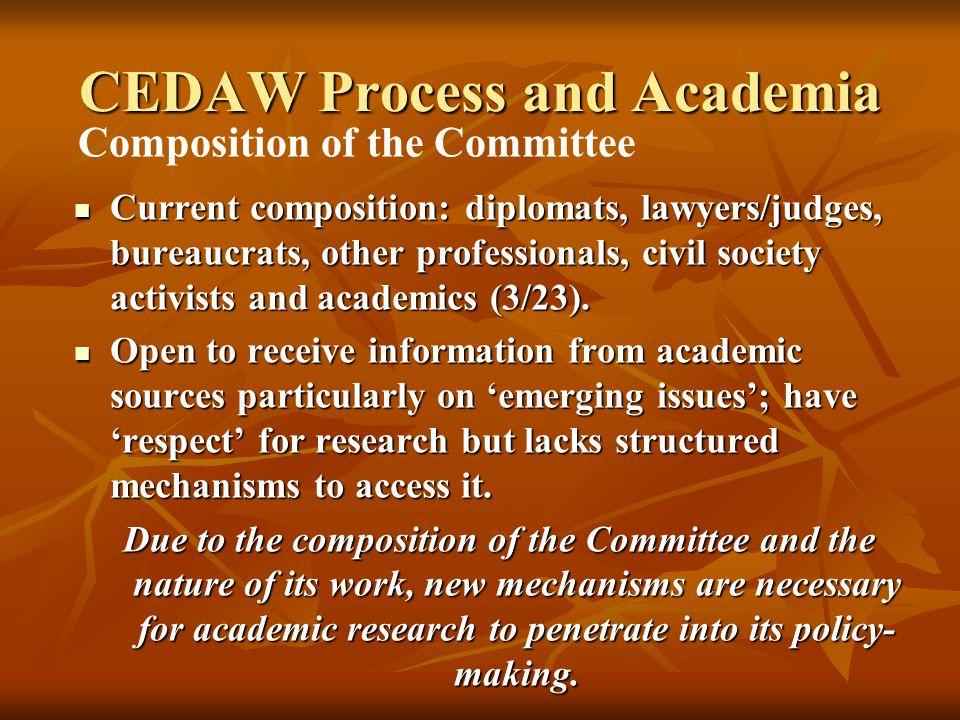 Current composition: diplomats, lawyers/judges, bureaucrats, other professionals, civil society activists and academics (3/23).