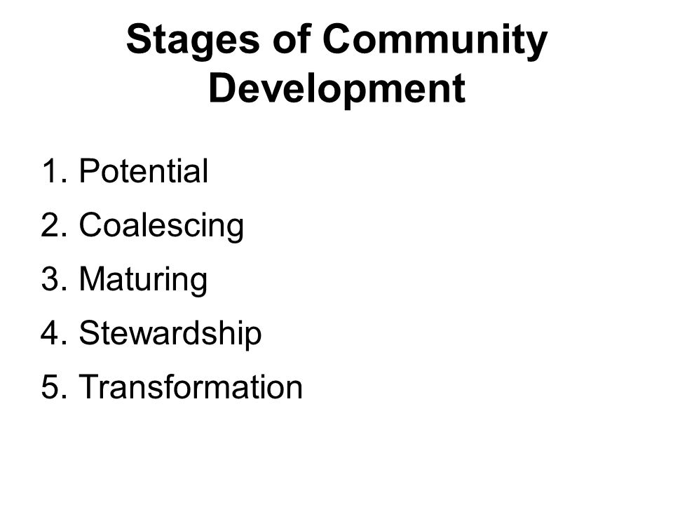 Stages of Community Development 1.Potential 2.Coalescing 3.Maturing 4.Stewardship 5.Transformation