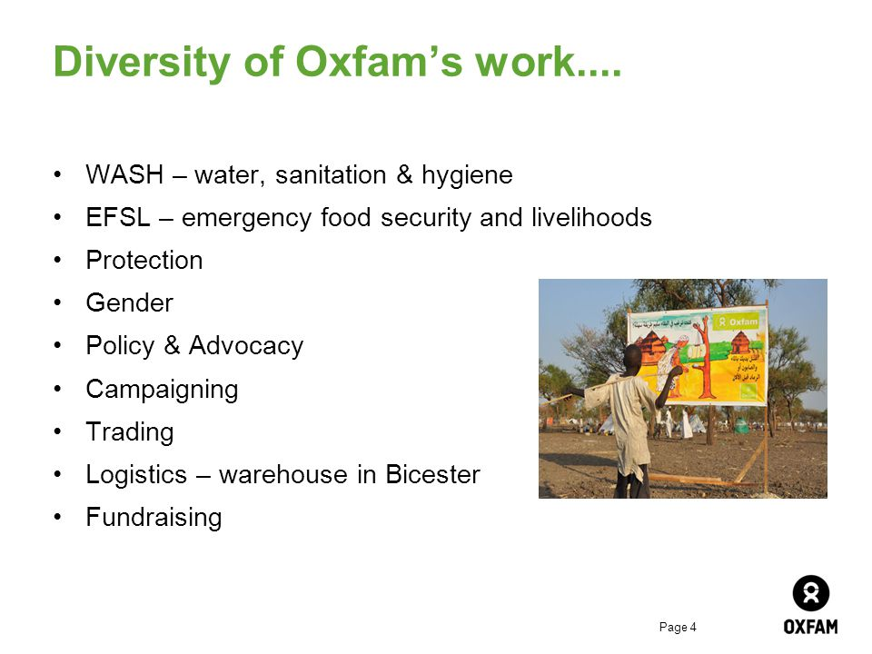 Page 4 Diversity of Oxfam's work....
