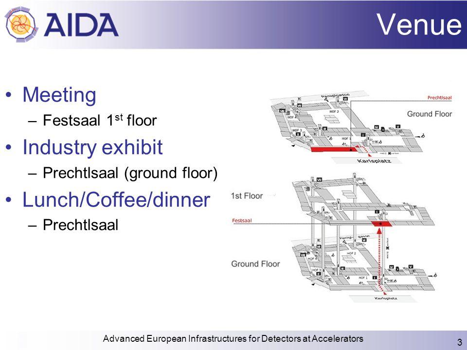Venue Meeting –Festsaal 1 st floor Industry exhibit –Prechtlsaal (ground floor) Lunch/Coffee/dinner –Prechtlsaal Advanced European Infrastructures for Detectors at Accelerators 3