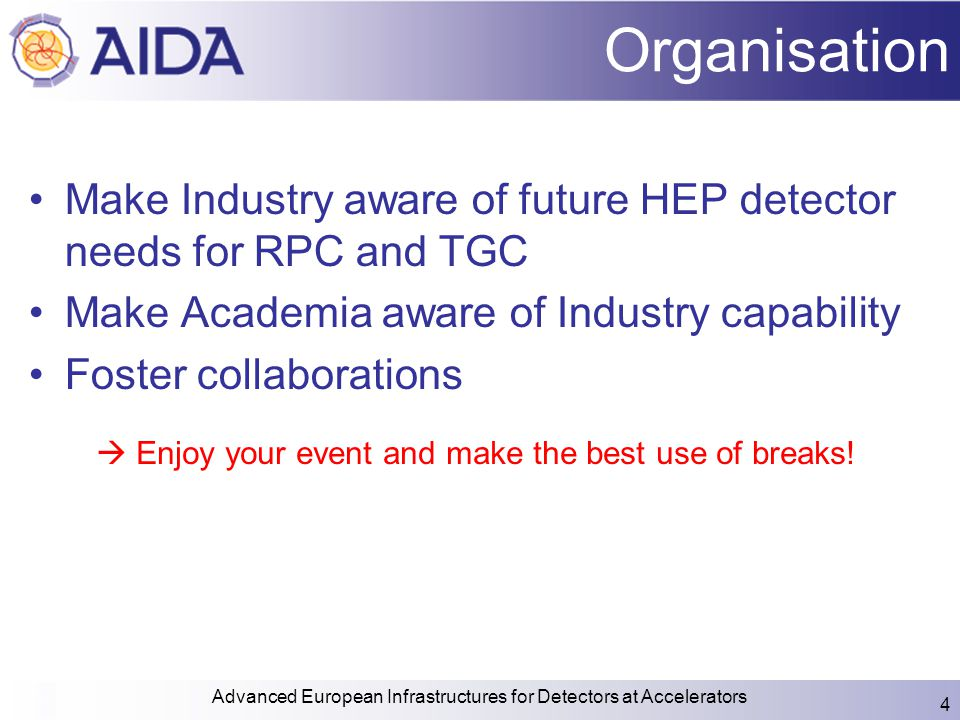 Organisation Make Industry aware of future HEP detector needs for RPC and TGC Make Academia aware of Industry capability Foster collaborations Advance