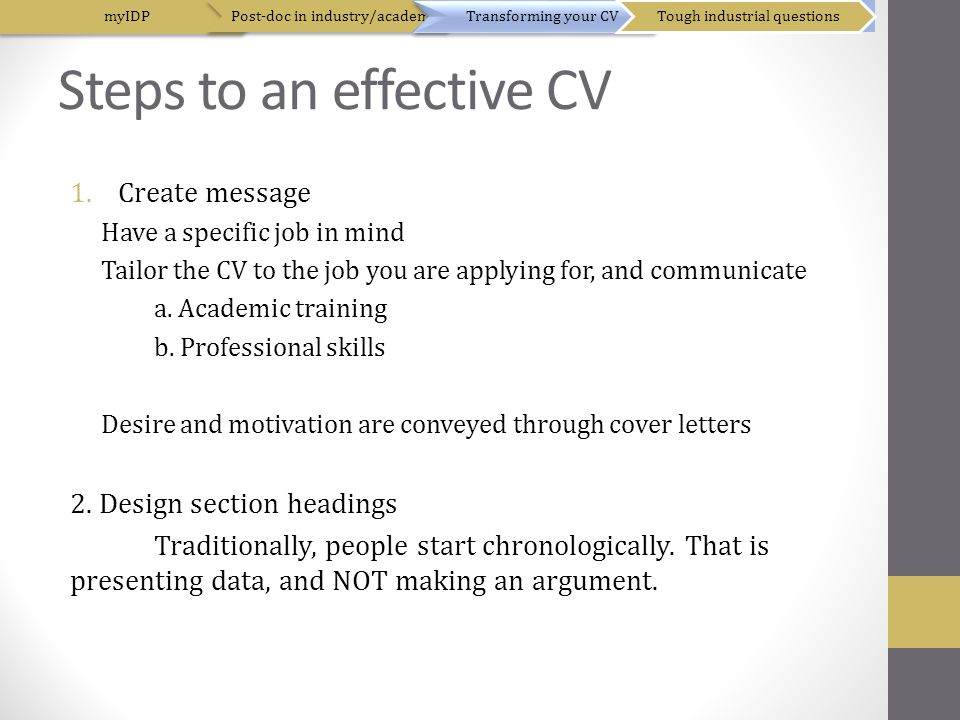 Steps to an effective CV 1.Create message Have a specific job in mind Tailor the CV to the job you are applying for, and communicate a.
