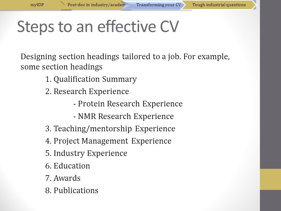 Steps to an effective CV Designing section headings tailored to a job.
