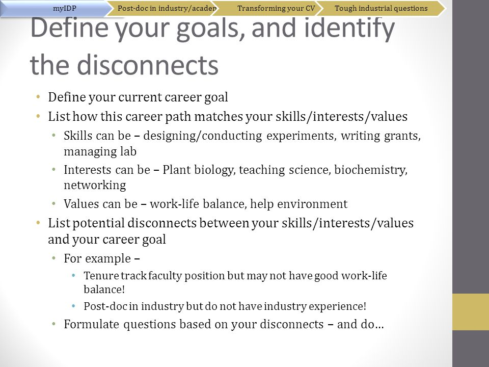 Define your goals, and identify the disconnects Define your current career goal List how this career path matches your skills/interests/values Skills can be – designing/conducting experiments, writing grants, managing lab Interests can be – Plant biology, teaching science, biochemistry, networking Values can be – work-life balance, help environment List potential disconnects between your skills/interests/values and your career goal For example – Tenure track faculty position but may not have good work-life balance.