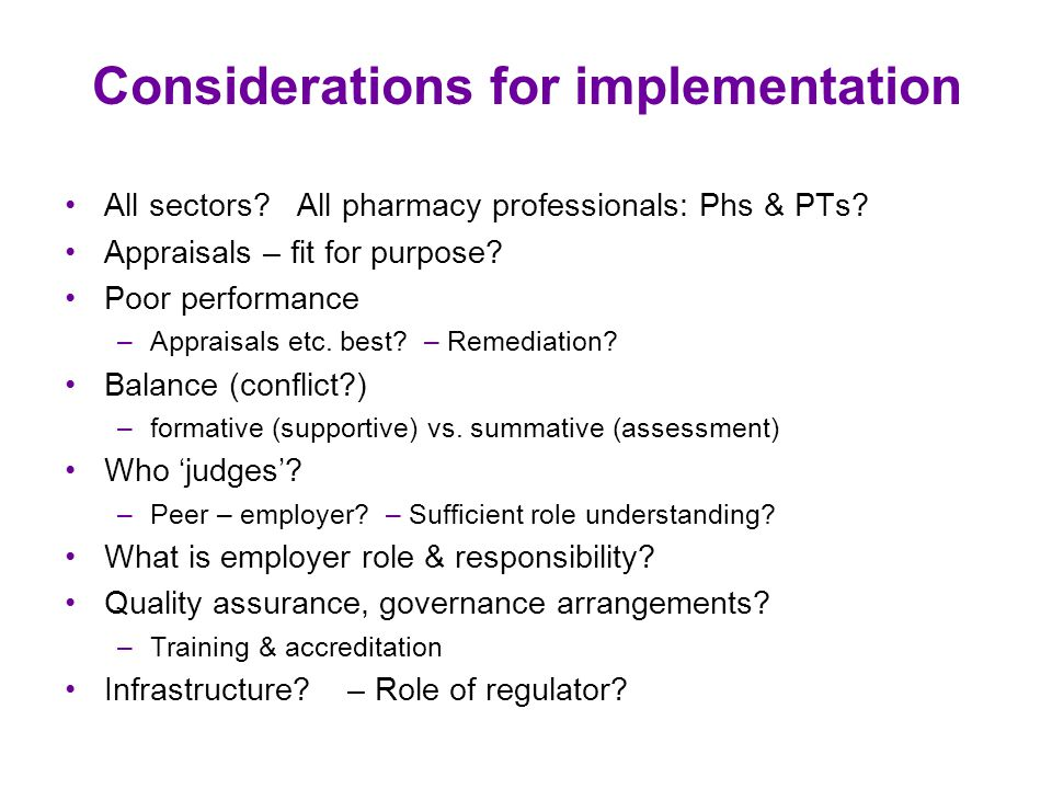 Considerations for implementation All sectors. All pharmacy professionals: Phs & PTs.