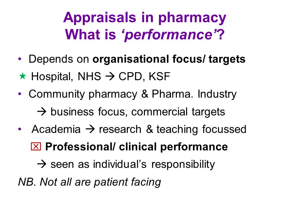 Appraisals in pharmacy What is 'performance'.