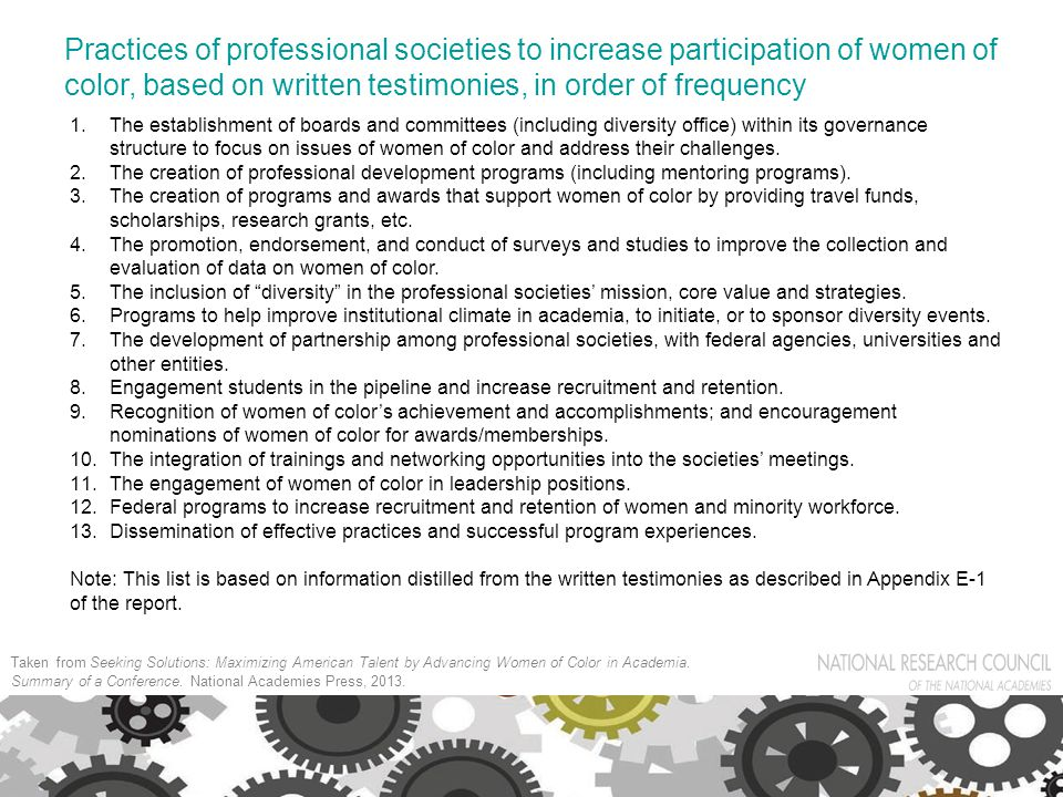 Practices of professional societies to increase participation of women of color, based on written testimonies, in order of frequency 1.The establishment of boards and committees (including diversity office) within its governance structure to focus on issues of women of color and address their challenges.