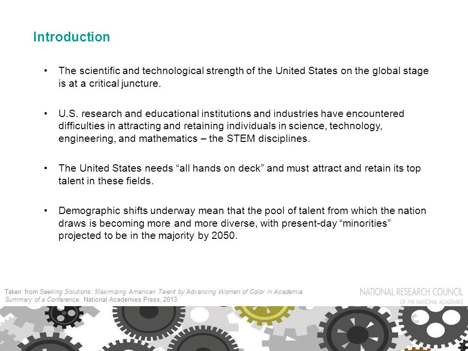 Introduction The scientific and technological strength of the United States on the global stage is at a critical juncture.