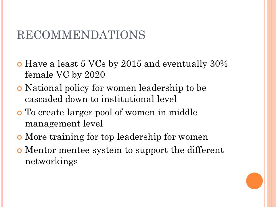 RECOMMENDATIONS Have a least 5 VCs by 2015 and eventually 30% female VC by 2020 National policy for women leadership to be cascaded down to institutional level To create larger pool of women in middle management level More training for top leadership for women Mentor mentee system to support the different networkings