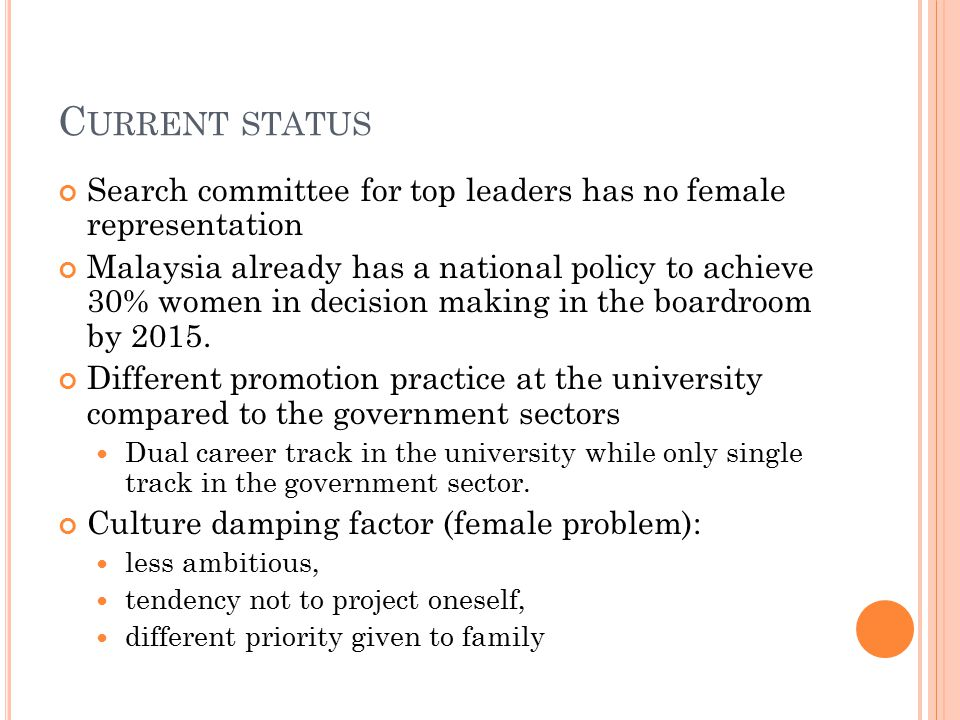 C URRENT STATUS Search committee for top leaders has no female representation Malaysia already has a national policy to achieve 30% women in decision making in the boardroom by 2015.