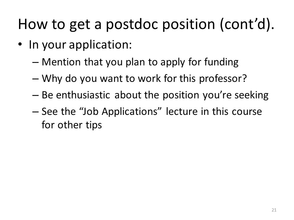 How to get a postdoc position (cont'd).