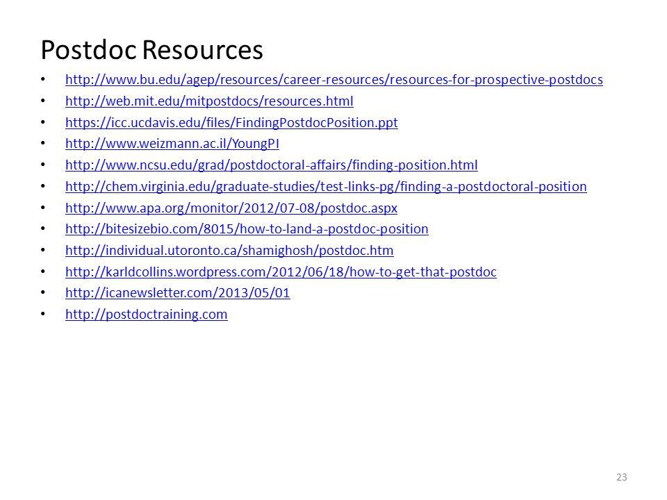Postdoc Resources http://www.bu.edu/agep/resources/career-resources/resources-for-prospective-postdocs http://web.mit.edu/mitpostdocs/resources.html https://icc.ucdavis.edu/files/FindingPostdocPosition.ppt http://www.weizmann.ac.il/YoungPI http://www.ncsu.edu/grad/postdoctoral-affairs/finding-position.html http://chem.virginia.edu/graduate-studies/test-links-pg/finding-a-postdoctoral-position http://www.apa.org/monitor/2012/07-08/postdoc.aspx http://bitesizebio.com/8015/how-to-land-a-postdoc-position http://individual.utoronto.ca/shamighosh/postdoc.htm http://karldcollins.wordpress.com/2012/06/18/how-to-get-that-postdoc http://icanewsletter.com/2013/05/01 http://postdoctraining.com 23