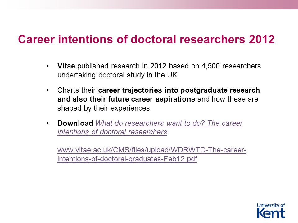 Career intentions of doctoral researchers 2012 Vitae published research in 2012 based on 4,500 researchers undertaking doctoral study in the UK. Chart