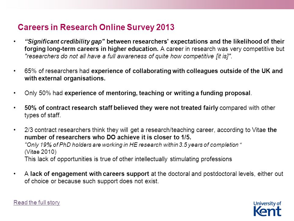 """Careers in Research Online Survey 2013 """"Significant credibility gap"""
