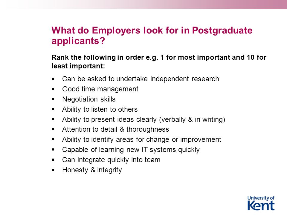 What do Employers look for in Postgraduate applicants? Rank the following in order e.g. 1 for most important and 10 for least important:  Can be aske