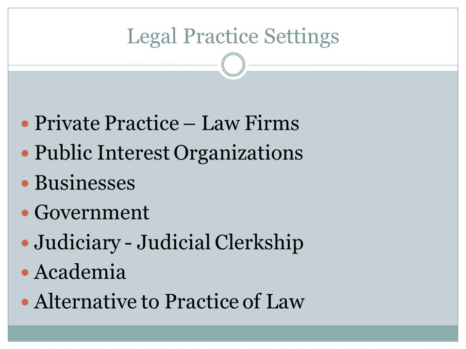 Legal Practice Settings Private Practice – Law Firms Public Interest Organizations Businesses Government Judiciary - Judicial Clerkship Academia Alternative to Practice of Law