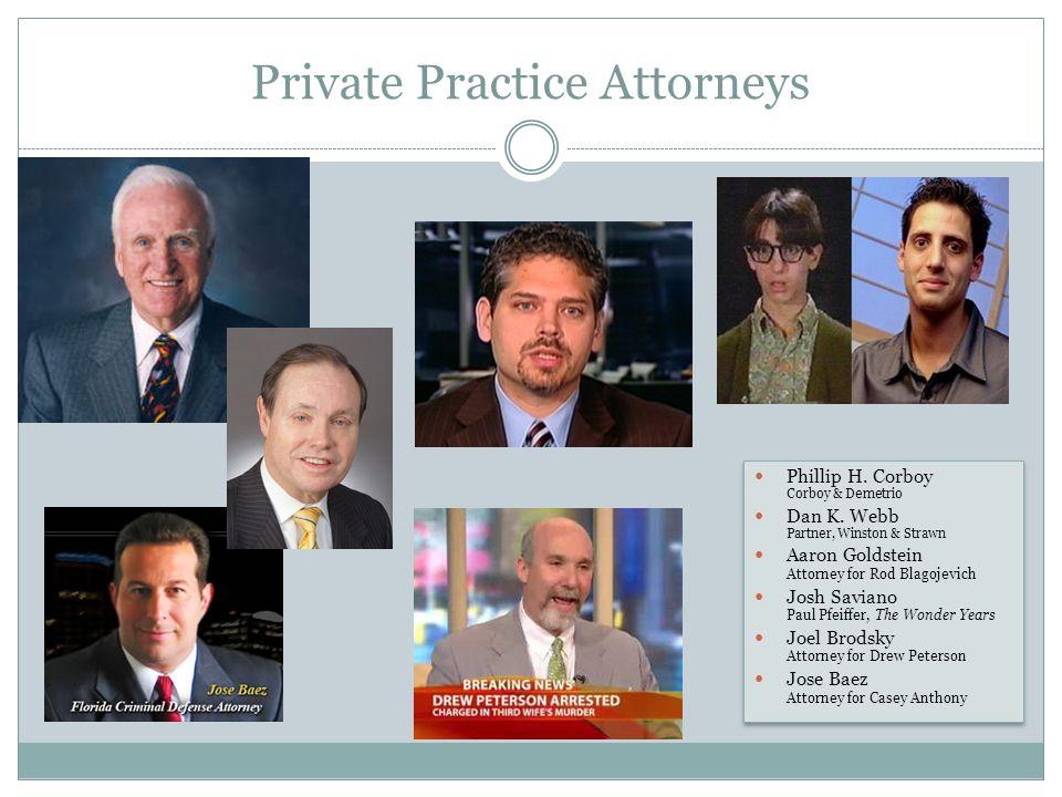 Private Practice Attorneys Phillip H. Corboy Corboy & Demetrio Dan K.