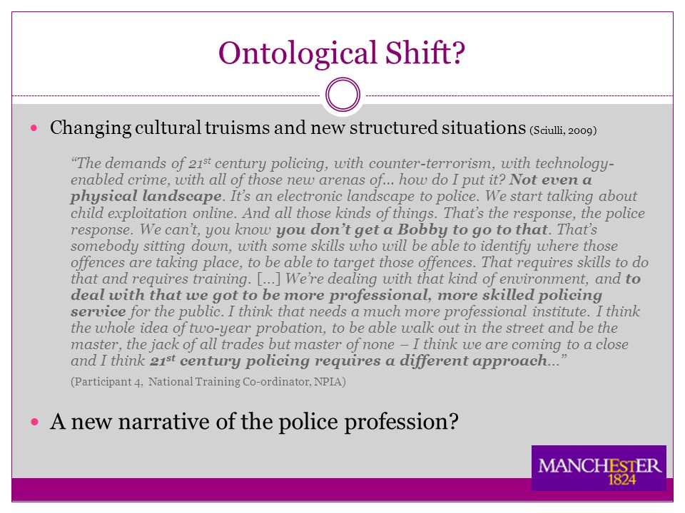 "Ontological Shift? Changing cultural truisms and new structured situations (Sciulli, 2009) ""The demands of 21 st century policing, with counter-terror"