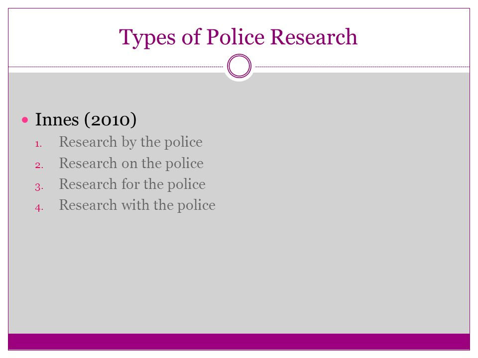 Types of Police Research Innes (2010) 1. Research by the police 2.