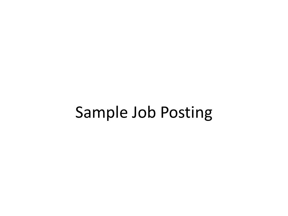 Sample Job Posting