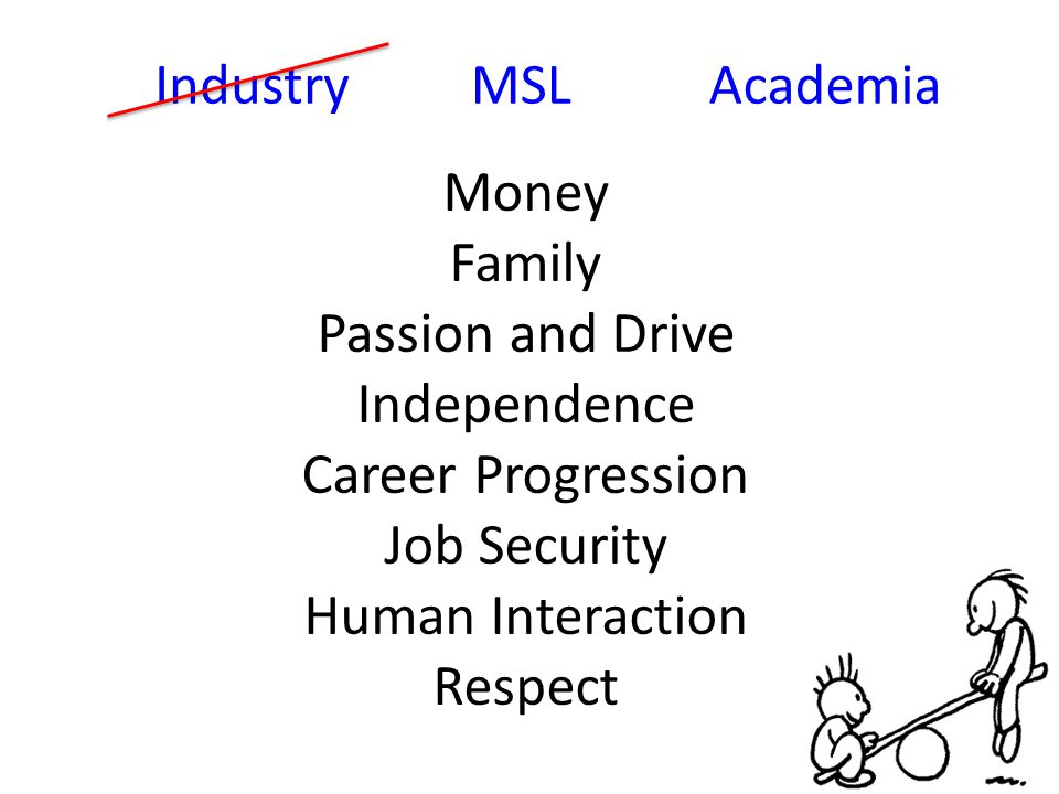 IndustryAcademia Money Family Passion and Drive Independence Career Progression Job Security Human Interaction Respect MSL