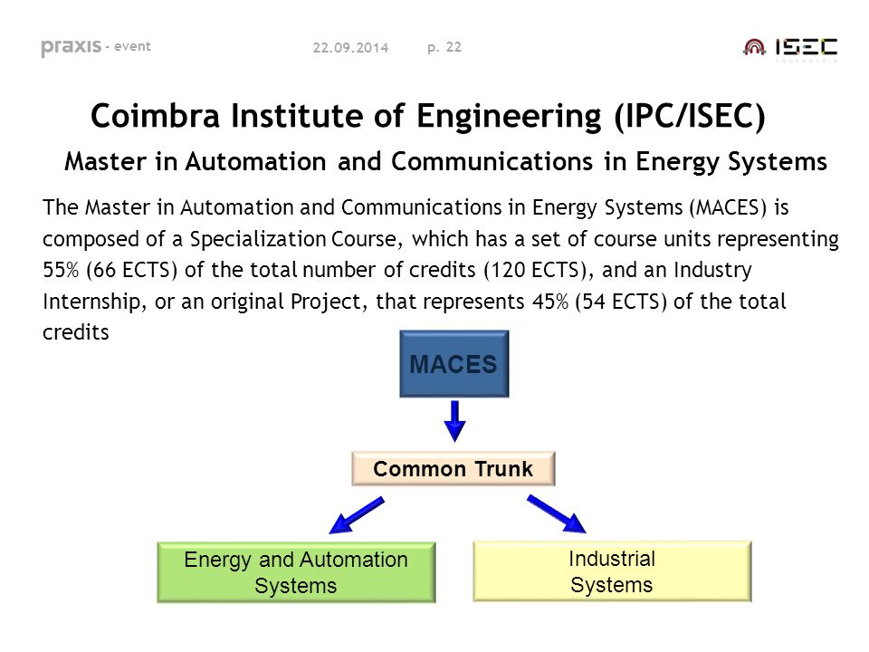 p. 22 22.09.2014 Coimbra Institute of Engineering (IPC/ISEC) Master in Automation and Communications in Energy Systems The Master in Automation and Co