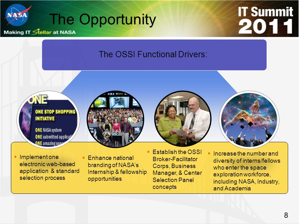 8 The Opportunity The OSSI Functional Drivers:  Implement one electronic web-based application & standard selection process  Enhance national branding of NASA's Internship & fellowship opportunities  Establish the OSSI Broker-Facilitator Corps, Business Manager, & Center Selection Panel concepts  Increase the number and diversity of interns/fellows who enter the space exploration workforce, including NASA, Industry, and Academia