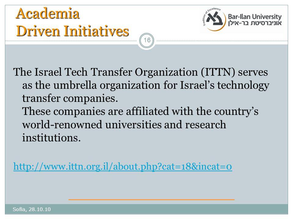 16 Academia Driven Initiatives The Israel Tech Transfer Organization (ITTN) serves as the umbrella organization for Israel's technology transfer companies.
