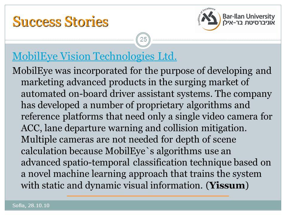Success Stories MobilEye Vision Technologies Ltd.