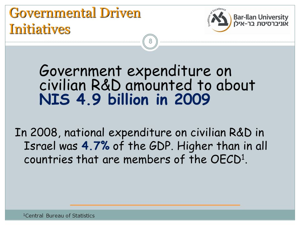 8 Governmental Driven Initiatives In 2008, national expenditure on civilian R&D in Israel was 4.7% of the GDP.