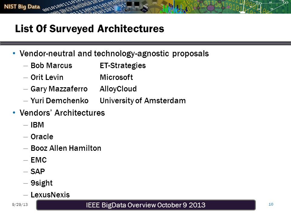 IEEE BigData Overview October 9 2013 9/29/13 List Of Surveyed Architectures Vendor-neutral and technology-agnostic proposals – Bob MarcusET-Strategies – Orit LevinMicrosoft – Gary MazzaferroAlloyCloud – Yuri DemchenkoUniversity of Amsterdam Vendors' Architectures – IBM – Oracle – Booz Allen Hamilton – EMC – SAP – 9sight – LexusNexis 10