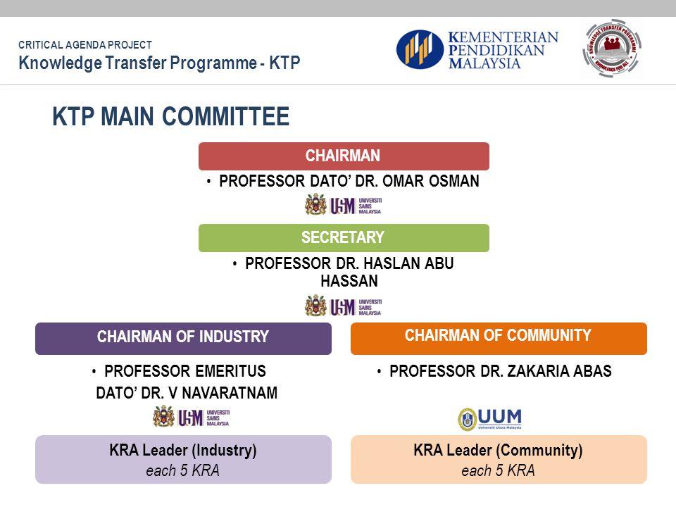 KTP MAIN COMMITTEE CHAIRMAN PROFESSOR DATO' DR.OMAR OSMAN SECRETARY PROFESSOR DR.