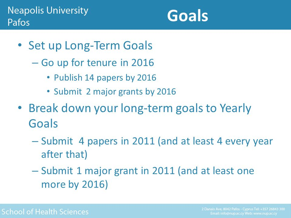 Goals Break down your Yearly Goals to Monthly Goals – Submit one paper this month (and one every 2 months thereafter) Break down your Monthly Goals to Weekly Goals – Complete the Methods section of Paper 1 this week Set-up Daily Goals – Work on the results of Paper 1 today Constantly evaluate, update, and revise goals